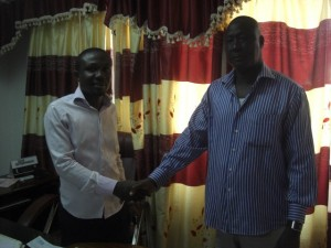 Medeama CEO James Essilfie and Bashir Hayford (right)