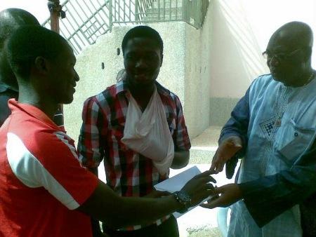Pictures: Asante Kotoko visits injured Hearts goalkeeper McCarthy