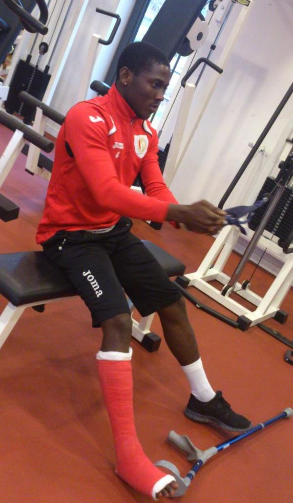 Injured Daniel Opare steps up recovery in the gym