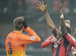 Pictures of Kevin Prince Boateng and Sulley Muntari celebrating their famous AC Milan victory over Barcelona.