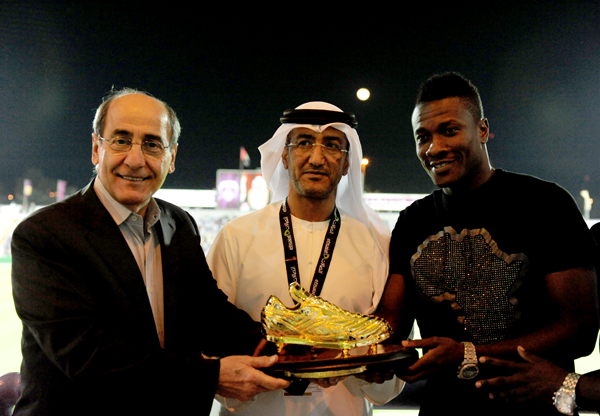 Asamoah Gyan was presented with the Golden Shoe ward on Friday