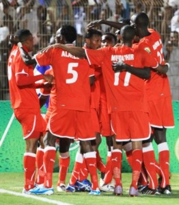 Sudan players celebrating a goal in the FIFA World Cup qualifier.