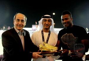 Watch video of Ghana captain Asamoah Gyan receiving the Arabian Golden Shoe award for emerging the top scorer of all Arabian Leagues in the 2011-2012 season.