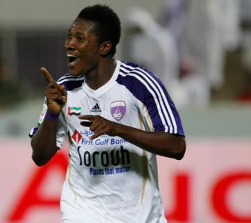 Ghana striker Asamoah Gyan leads the goalscorer's chart in the UAE