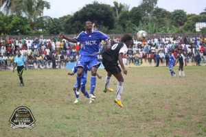 Daniel Nii Adjei in an aerial challenge in the Congolese league feels the standard of the league is low