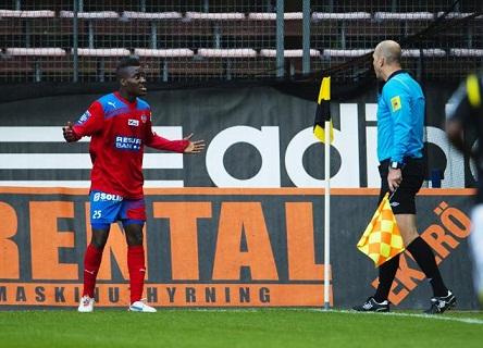 David Accam scored a brace for Helsingborg on Sunday