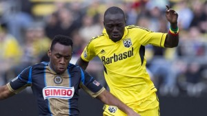 Dominic Oduro, right, ensured Columbus Crew managed a 1-1 draw against Philadephia Reunion