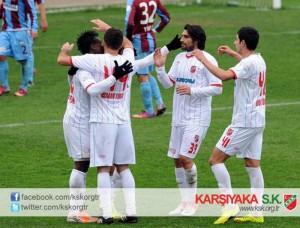 Emmanuel Banahene, left, scored for Karsiyaka in Turkey