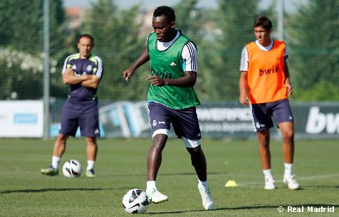 Michael Essien returned to Real Madrid training ground on Thursday