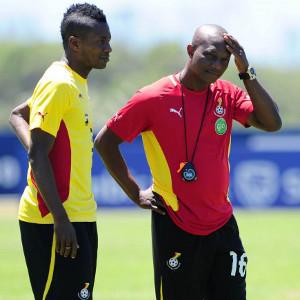 Ghana coach Akwasi Appiah with captain Asamoah Gyan