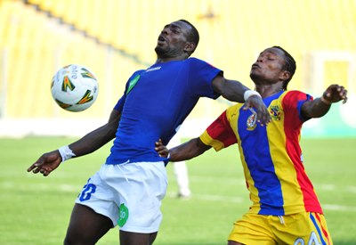 A Ghana Premier League match between Ebusua Dwarfs and Hearts of Oak.
