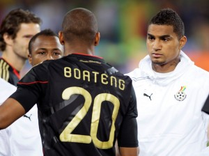 Jerome Boateng meets his half brother Kevin-Prince Boateng during a 2010 World Cup game in South Africa