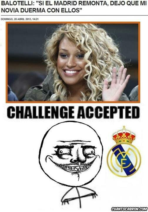 Internet jokers have been putting some creativity into Real Madrid's elimination from the Champions League with a string of comedy virals related to alleged girlfriend sex offer by Mario Balotelli to players of the Spanish side.