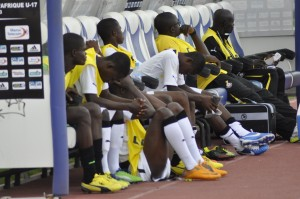 Ghana's U17 bench after drawing 0-0 with Ivory Coast.