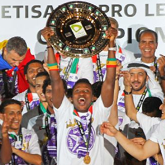 Ghana captain Asamoah Gyan scored for Al Ain on Thursday night as they defeated Dubai 3-0 to win the UAE Pro League title with for matches remaining.