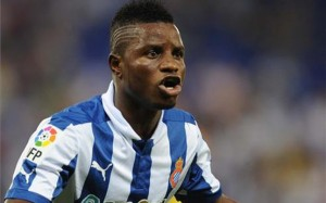Ghana's in-form midfielder Mubarak Wakaso scored and set up another as Espanyol levelled with the last kick of the game to draw 3-3 at home to Valencia in La Liga on Saturday.