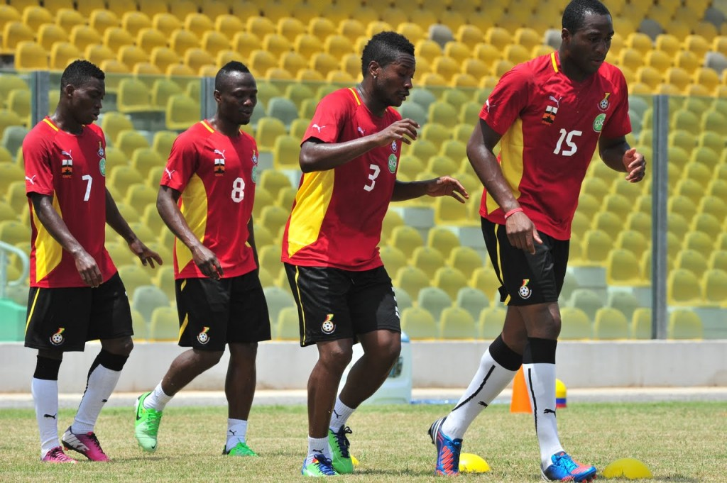 Daniel Pappoe (15) training with the Black Stars at the Accra Sports Stadium on Tuesday.