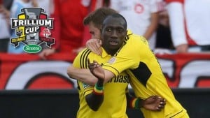 Dominic Oduro celebrates his goal with Columbus Crew in the American Major Soccer League