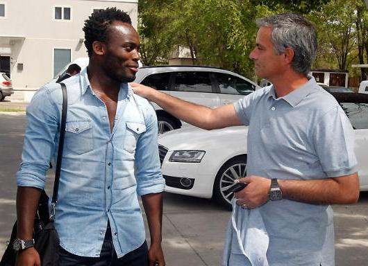 Michael Essien with his 'daddy' Jose Mourinho