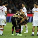Sulley Muntari sent off for restraining referee from showing Mario Balotelli a yellow card