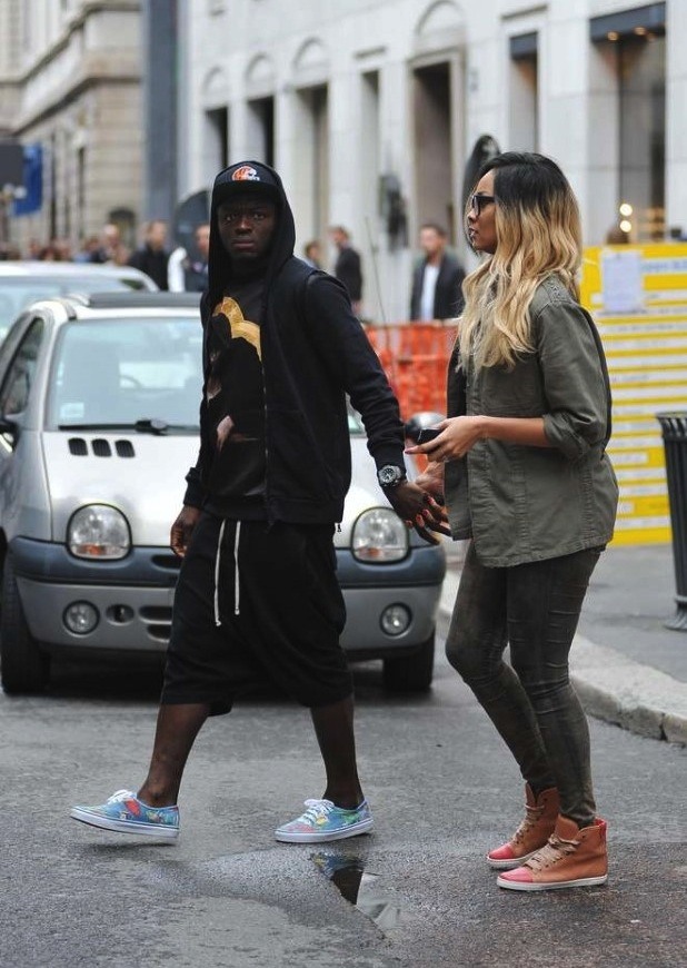 Pictures: Sulley Muntari and model wife Menaye Donkor spotted shopping  at Luxury Lingerie Shop-La Perla.