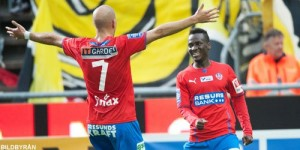 Ghana winger David Accam scored two goals to help Helsingborg to beat Swedish league title holders Elfsborg 2-1 to go top of the country's top-flight on Monday.