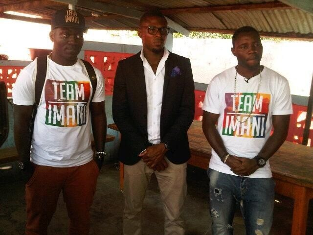 Papa Agyemang, Jerry Akaminko and Kwadwo Asamoah doing the donation
