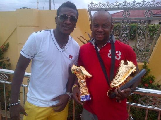 Samuel Anim-Addo with Asamoah Gyan