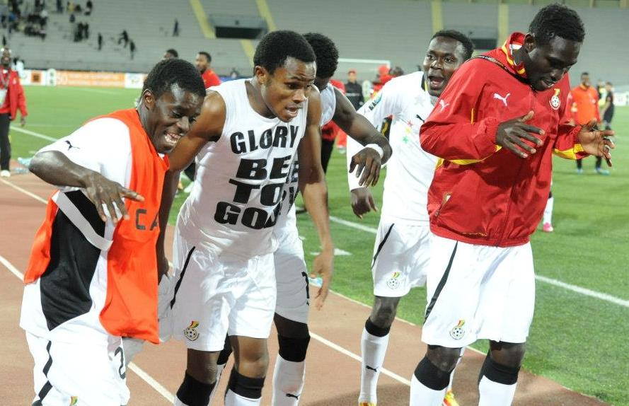 Ghana's U20 celebrating at the 2013 African Youth Championship.