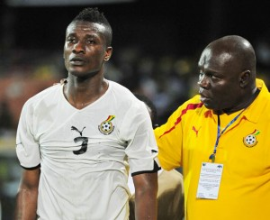 CCTV footage has shown the man who stole Ghana captain Asamoah Gyan's $10,000 and Sulley Muntari's expensive wristwatch from their hotel rooms while they were playing in a World Cup qualifier in Lesotho on Sunday.