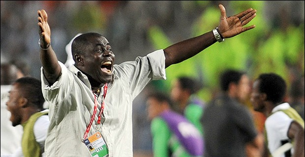 An over-joyed Sellas Tetteh in his brown shirt back in 2009