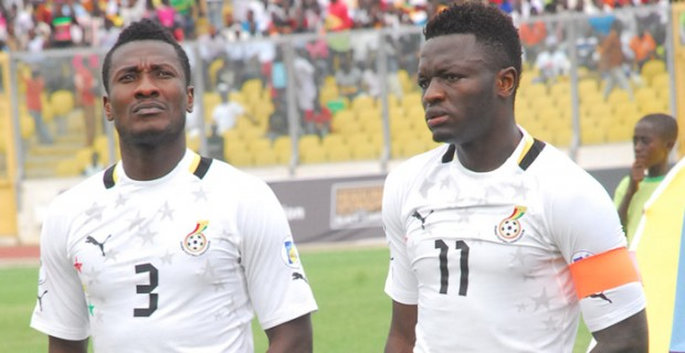 Asamoah Gyan handed his captain armband to Sulley Muntari in the game against Sudan played in Ghana