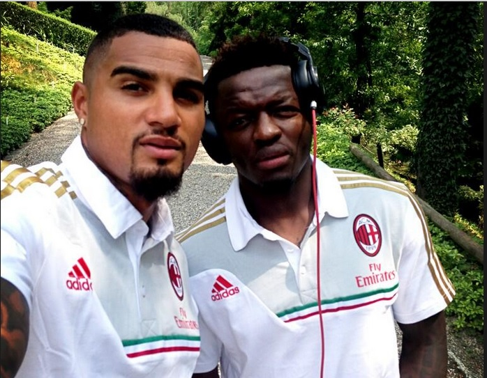 Kevin-Prince Boateng (left) Suley Muntari at Milan's pre-season.
