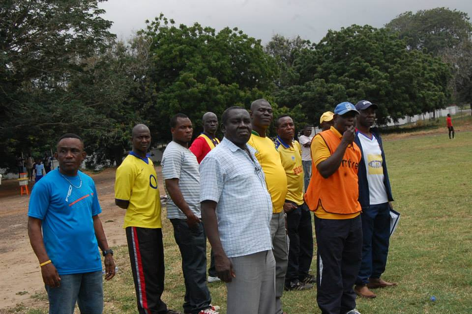 David Duncan and officials watch the youngsters train at the Ajax Park in Legon