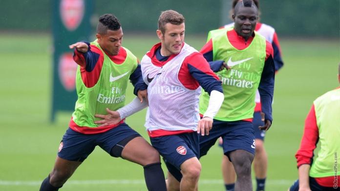 Emmanuel Frimpong training with Arsenal ahead of their season opener against Aston Villa