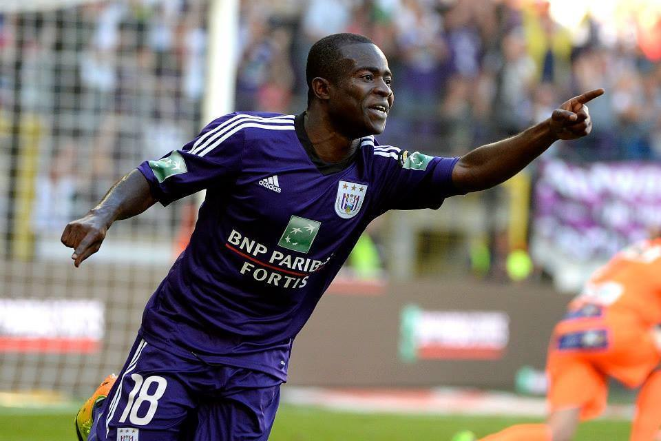 Frank Acheampong celebrating his goal for Anderlecht