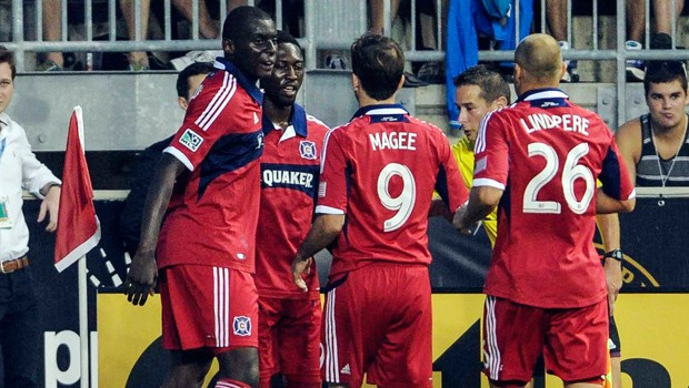 Patrick Nyarko celebrating his opening goal for Chicago Fire