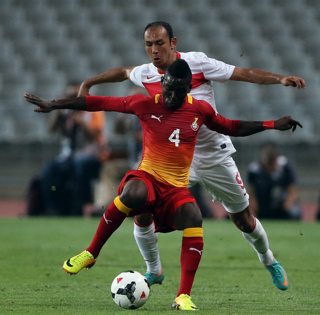Daniel Opare in action for Ghana against Turkey
