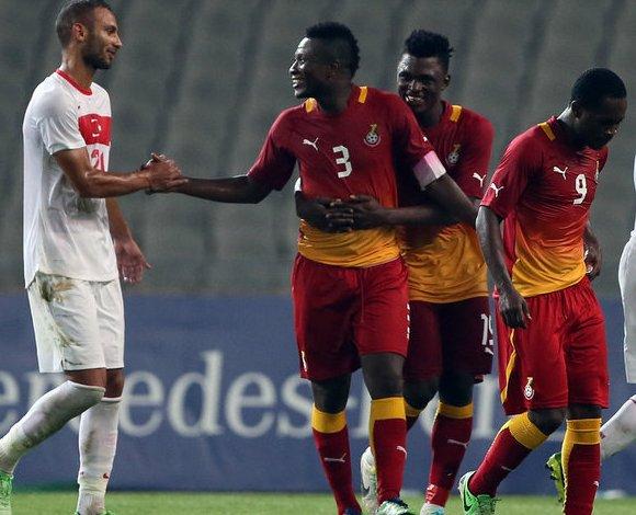 Ghana captain Asamoah Gyan celebrating his second goal