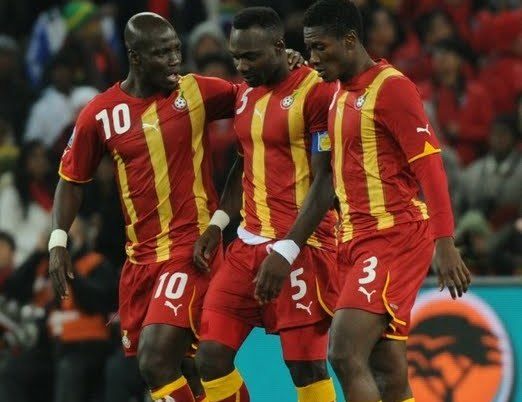 Stephen Appiah (left). John Mensah (middle) and Asamoah Gyan