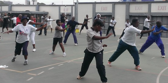 Particpants at 'Accra Works Out' fitness program