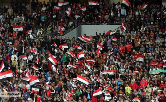 Egypt fans inside the Cairo Military Stadium