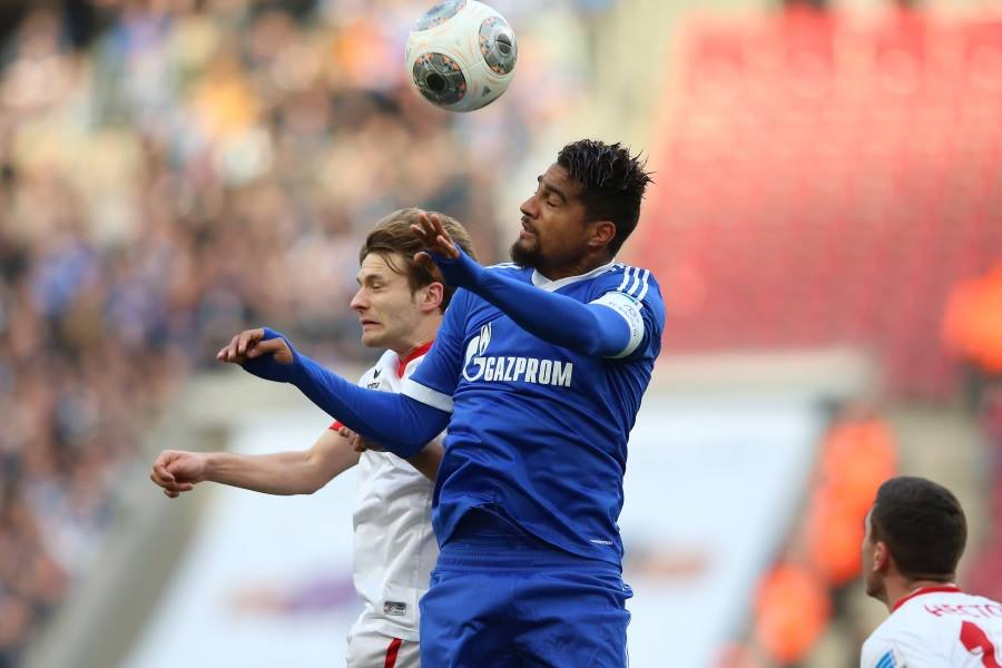 Kevin-Prince Boateng in action for Schalke 04 but Anthony Annan was not in action for them