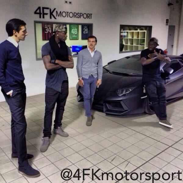 Mario Balotelli visits Sulley Muntari's car pimping company.