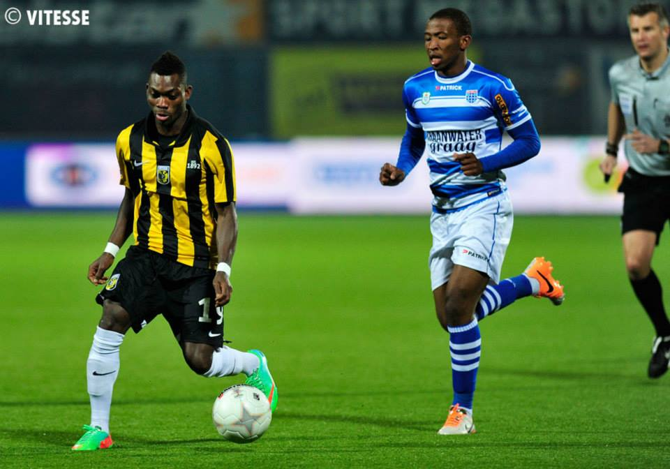 Christian Atsu in action for Vitesse Arnhem in Holland during a league game against PEC Zwolle