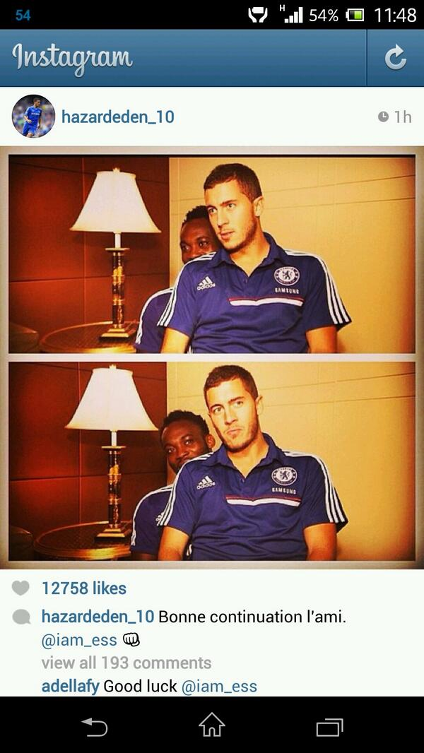 Eden Hazard wishes Essien good luck