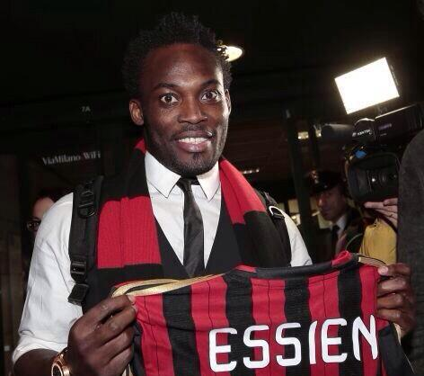 Michael Essien arrived in Milan on Friday night.