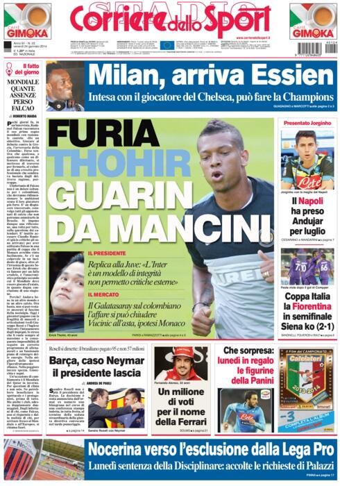 Michael Essien in Italian newspapers.