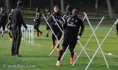Michael Essien taking part in the warm-up.