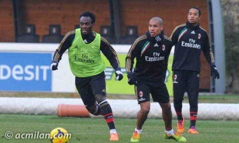 Michael Essien training with AC Milan early this week.